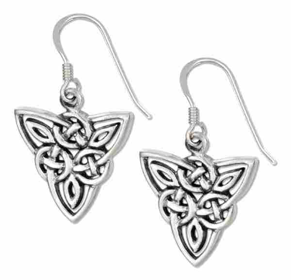 "Antiqued 5/8"" Celtic Trinity Knot Scrolled Designs Dangle Earrin"