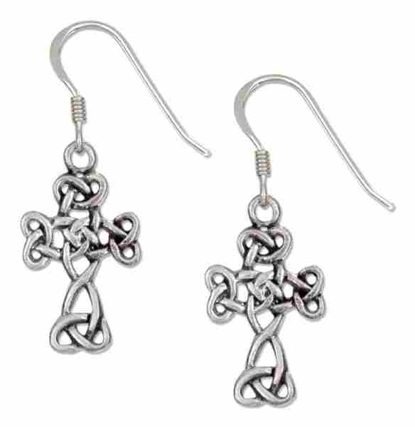 "Antiqued 7/8"" Scrolled Celtic Knot Design Cross Dangle Earrings"