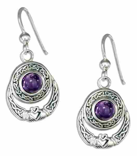 Antiqued Celtic Claddagh Dangle Earrings Round Amethyst