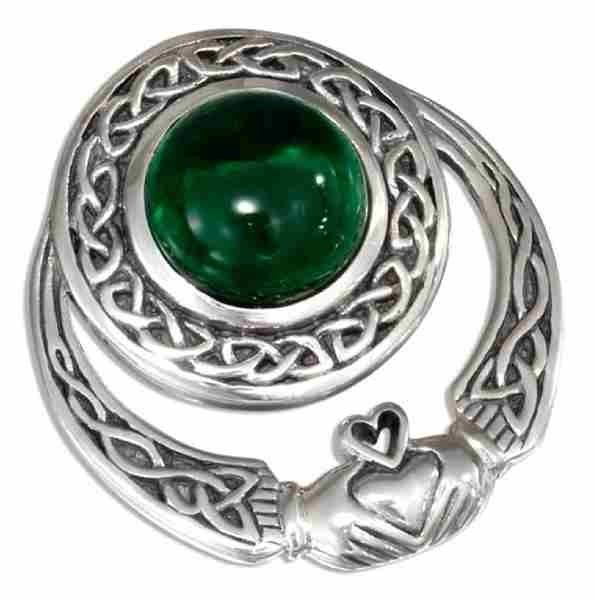 Antiqued Celtic Claddagh Slide Pendant 10mm Round Green Glass Ca