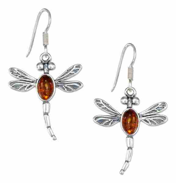 Honey Cognac Amber Dragonfly Dangle Earrings