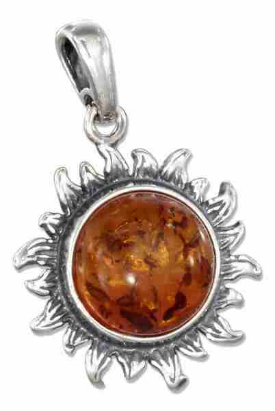 Honey Cognac Amber Sun Pendant