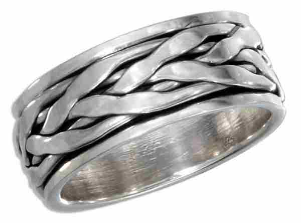 Unisex 8mm Wide Band Celtic Weave Braided Spinner Ring