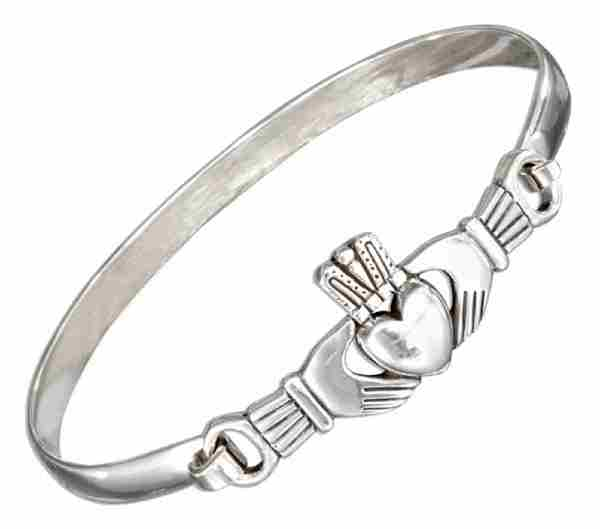 "7"" Wrist Claddagh Bangle Bracelet Latch Hook Closure"