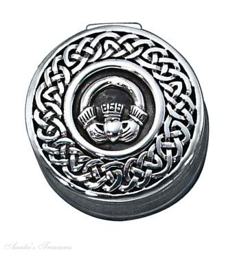 Round Celtic Knot Claddagh Pill Box