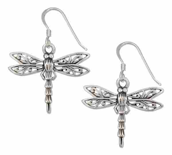 Dragonfly Filigree Wings Dangle Earrings