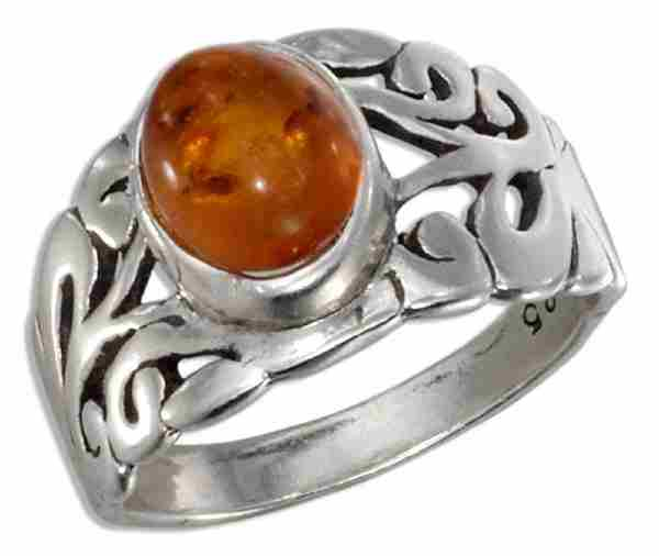 Open Filigree Honey Cognac Amber Ring