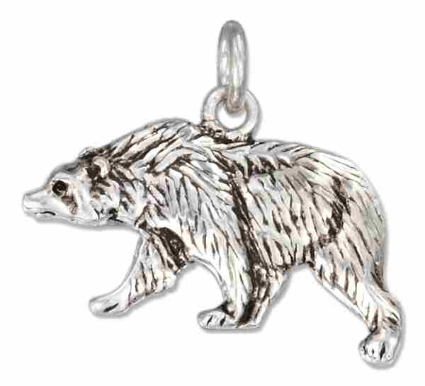 Left Facing Walking Grizzly Bear Charm
