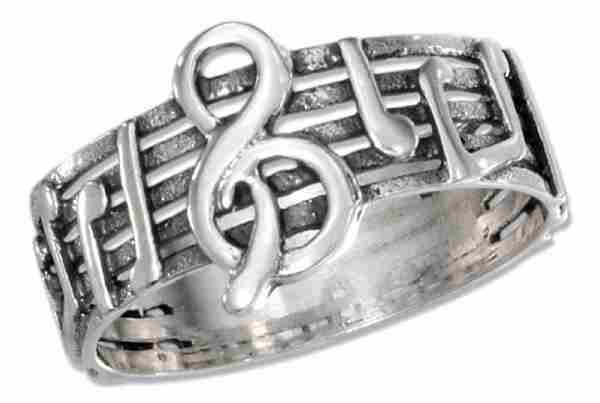 Treble Clef Music Notes On Music Staff Stave Band Ring