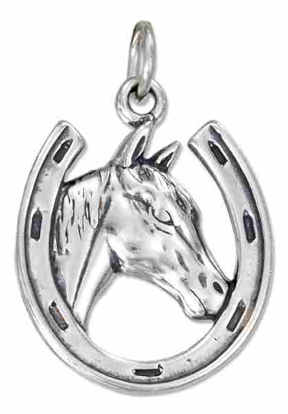 Thoroughbred Horsehead Horseshoe Good Luck Charm
