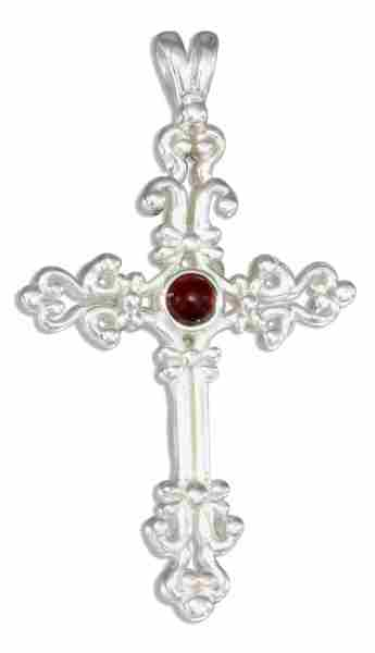 Sterling Silver Garnet Scroll Christian Religious Cross Pendant Auntie S Treasures Online