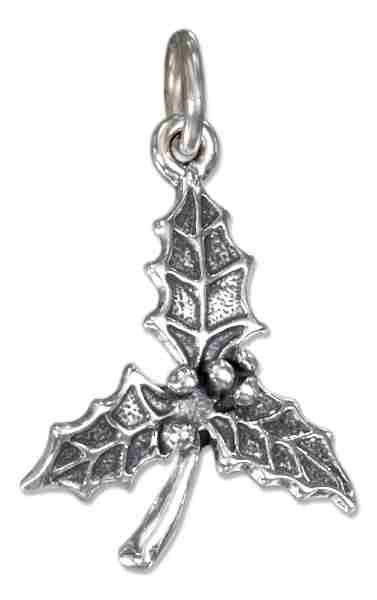 Triple Holly Leaf Berries Charm