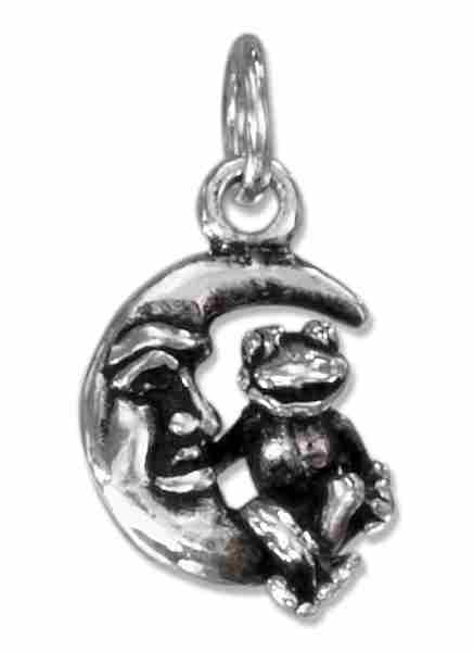 3D Small Frog Sitting On A Crescent Moon With Face Charm