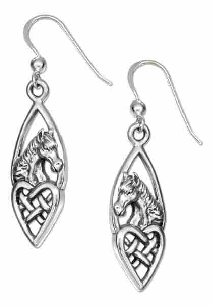 Horse Head Celtic Knot Heart Dangle Earrings