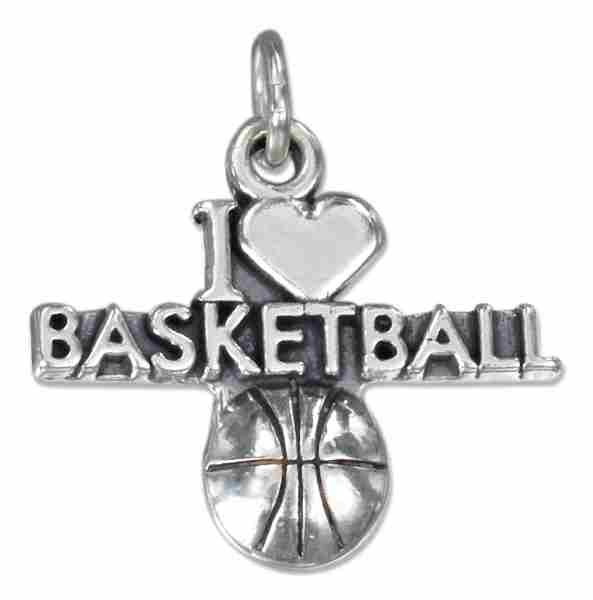 """I LOVE BASKETBALL"" Basketball Charm"