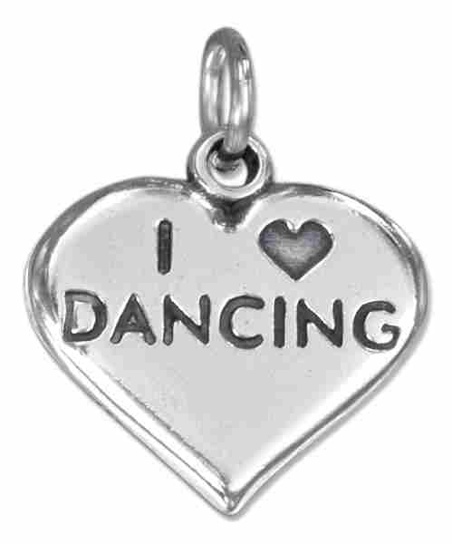 """I Love Dancing"" Heart Message Word Charm"