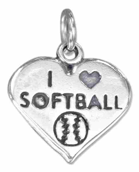 """I Love Softball"" Heart Charm"