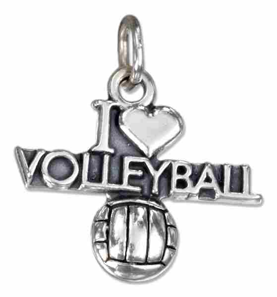 """I Love Volleyball"" Volleyball Charm"