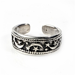 Celestial Antiqued Moon And Stars Adjustable Toe Ring