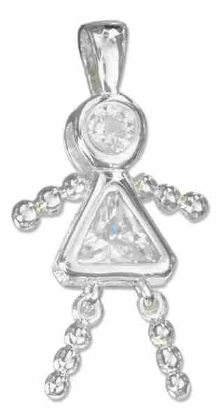 April Birthstone Brat Child Baby Girl Charm Pendant