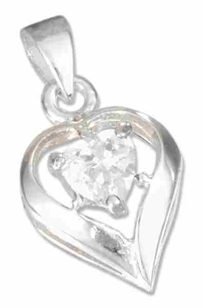 April Birthstone Heart Pendant