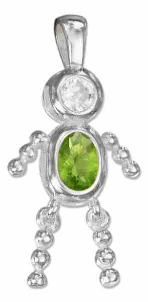 August Birthstone Brat Child Baby Boy Charm Pendant
