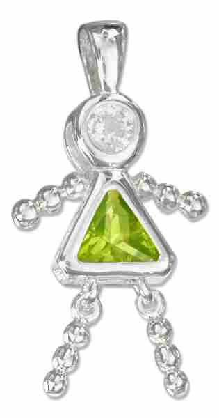 August Birthstone Brat Child Baby Girl Charm Pendant