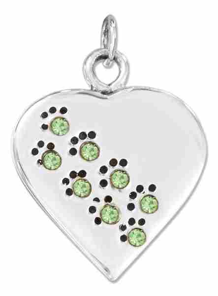 Sterling Silver Engravable August Birthstone Color Cubic Zirconia Dog Or Cat