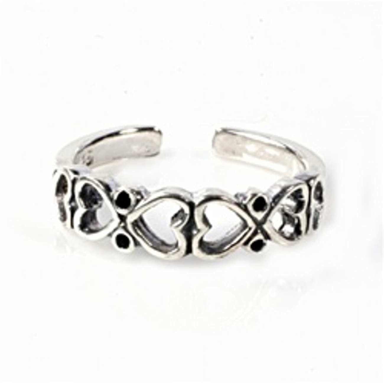 Back To Back Hearts Adjustable Toe Ring