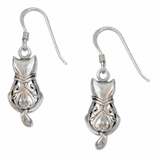 Filigree Cat Dangle Earrings