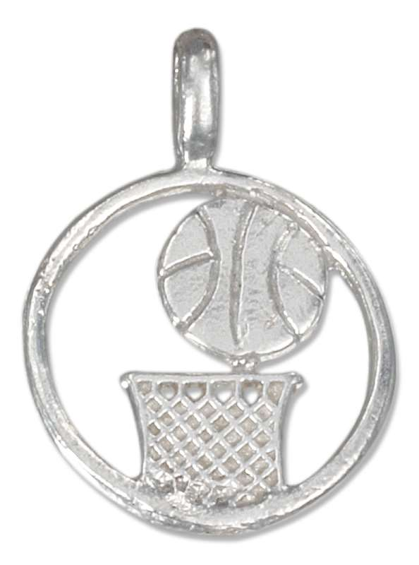 Basketball Hoop And Ball Round Circle Pendant