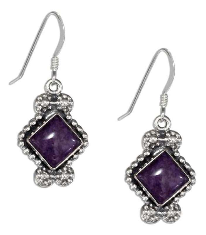 Bead Edge Earrings Diamond Shaped Charoite Stone