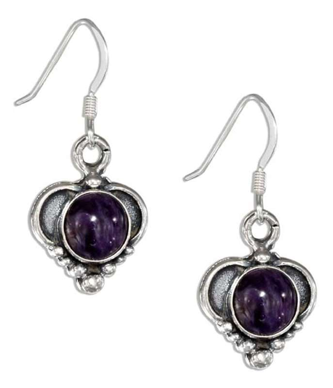 Beaded Bottom Heart Earrings 8MM Round Charoite Stone