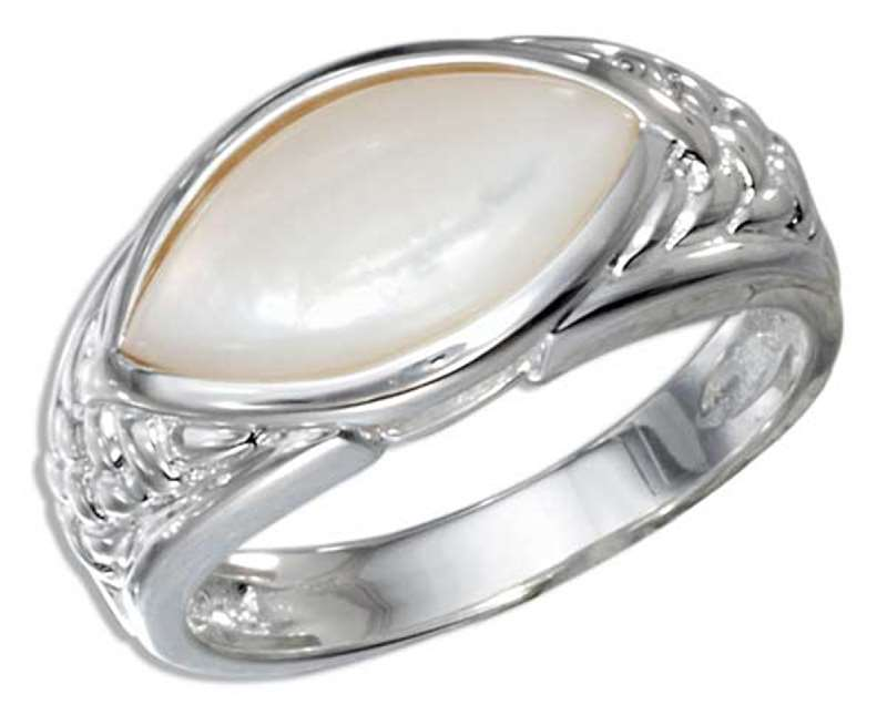 Oval Mother Of Pearl Solitaire Ring