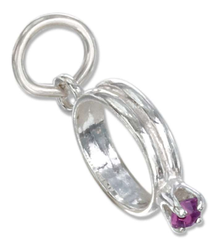 Amethyst Colored Cubic Zirconia February Birthstone Wedding Ring Charm