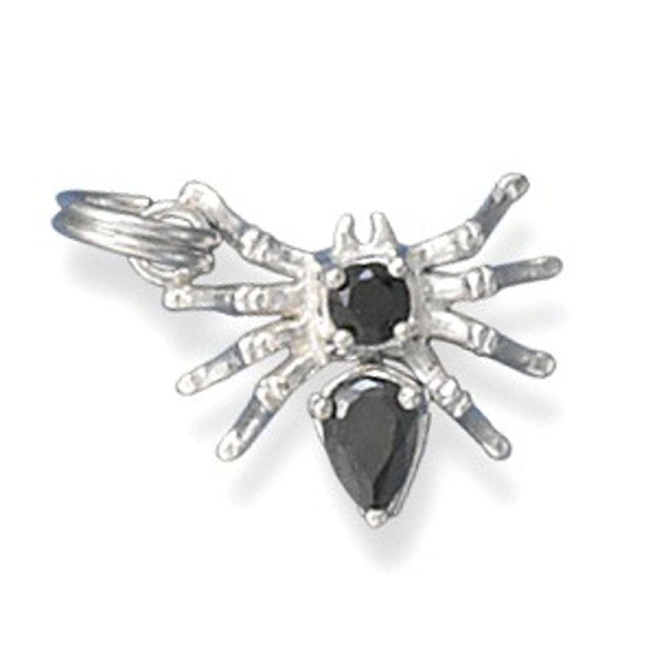 3D Black Cubic Zirconia Spider Insect Charm