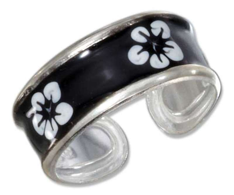 Hawaiian Tropical White Plumeria Flowers Black Enameled Band Toe Ring