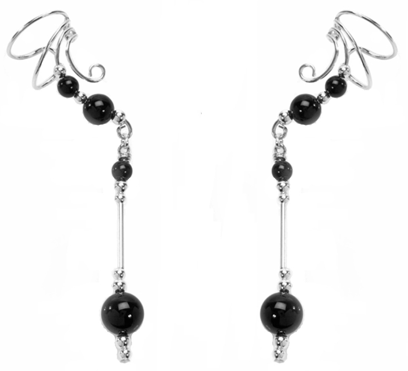 Left Only Pierceless Long Dangle Black Onyx Ear Cuff