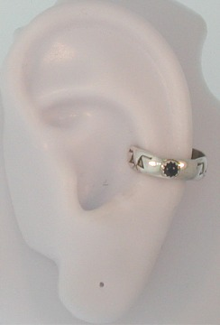 Nonpiercing Stamped (Varies) Black Onyx Stone Middle Ear Cuff