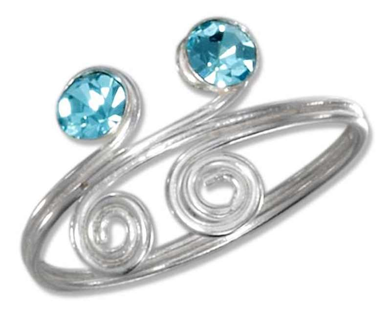 Blue Crystals Wire Swirls Adjustable Bypass Wrap Toe Ring