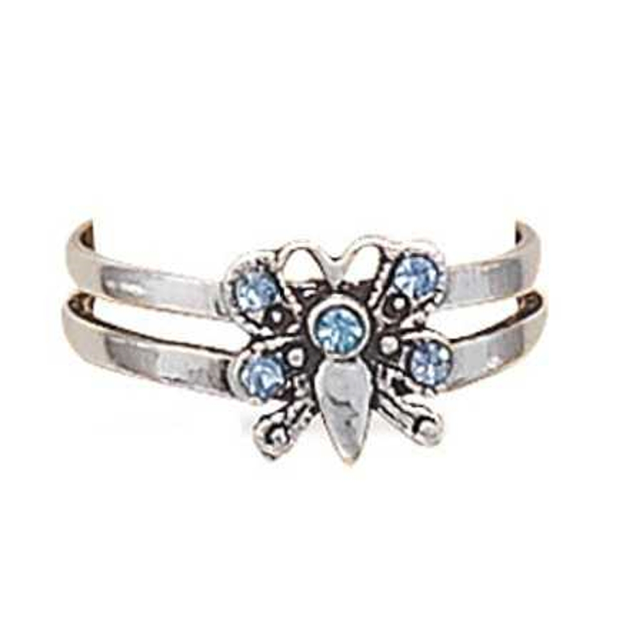 Blue Cubic Zirconia Butterfly Open Band Adjustable Toe Ring