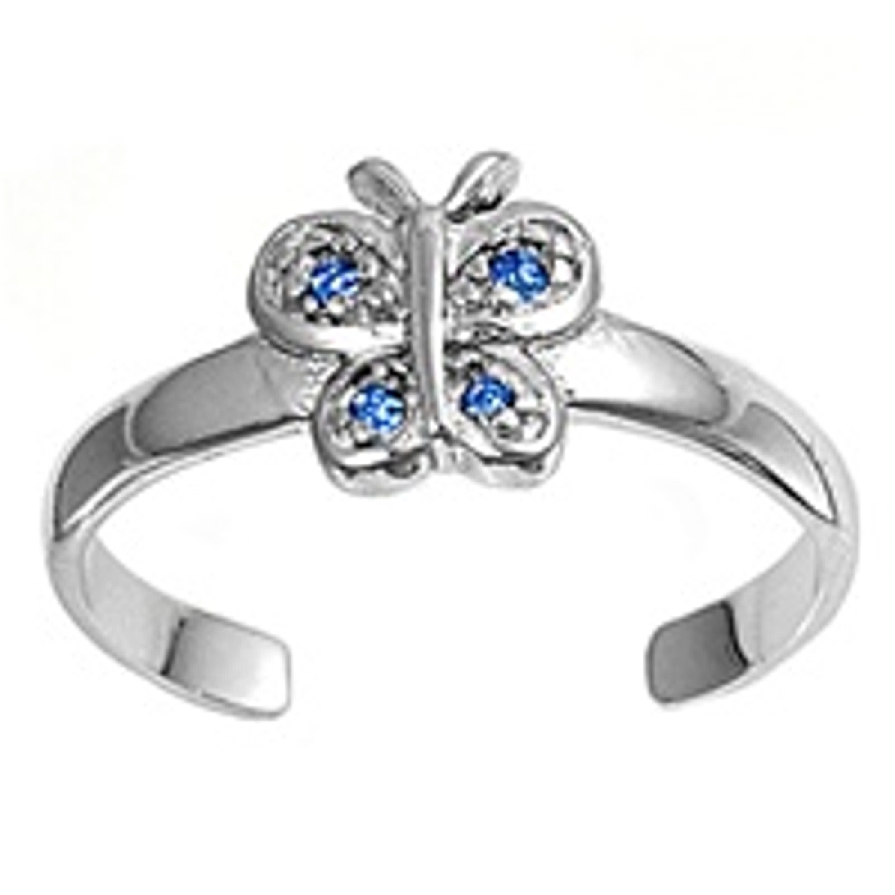 Blue Cubic Zirconia Butterfly Adjustable Toe Ring