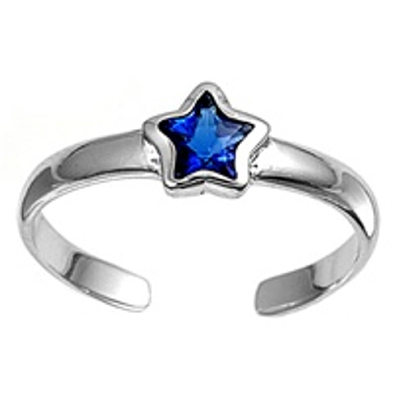 Celestial Blue Cubic Zirconia Star Adjustable Toe Ring