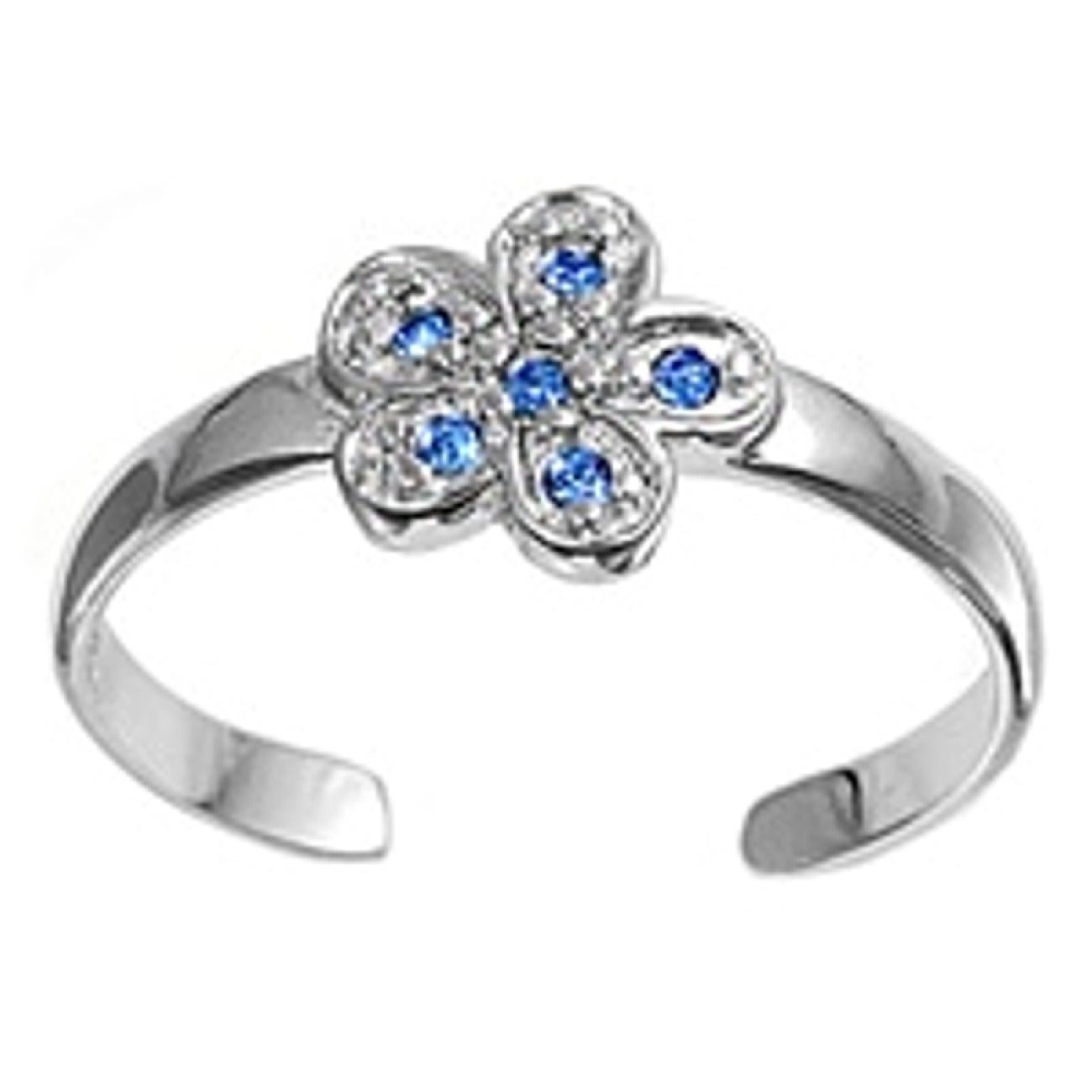 Blue Cubic Zirconia Five Wide Petal Flower Adjustable Toe Ring