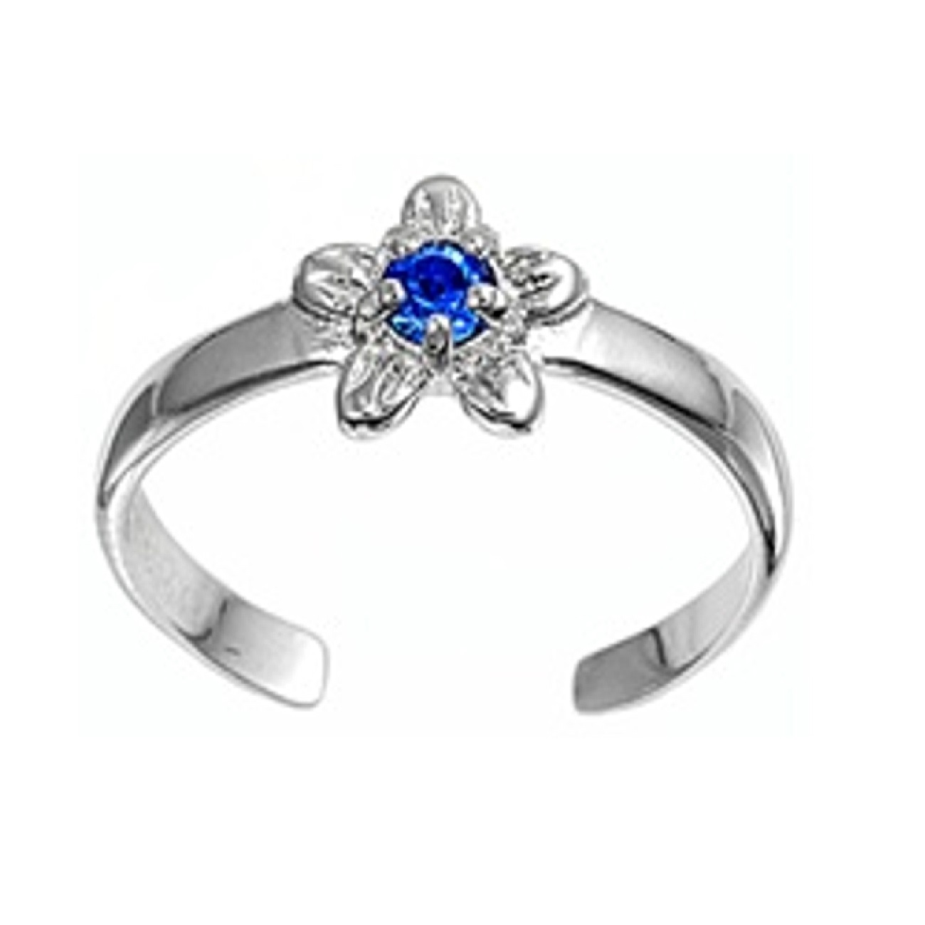 Blue Cubic Zirconia Daisy Flower Adjustable Toe Ring