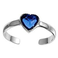 Blue Cubic Zirconia Heart Adjustable Toe Ring