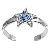 Blue Cubic Zirconia Starfish Or Celestial Star Adjustable Toe Ring