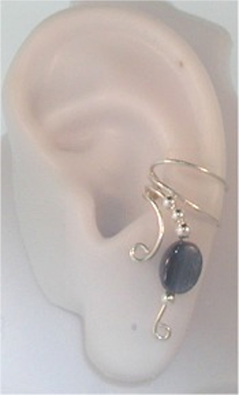 Right Only Blue Kyanite Flat Round Bead Wave Ear Cuff Wrap