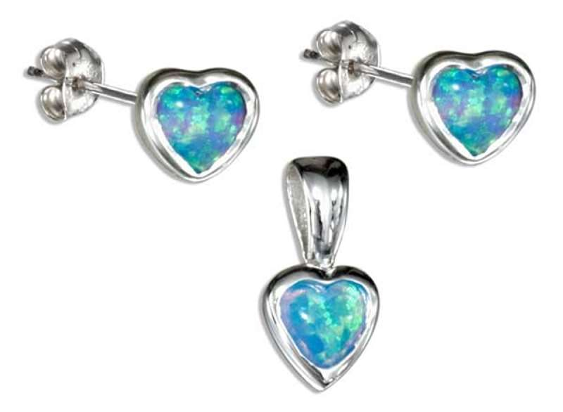 Imitation Opal Heart Post Earrings Pendant Set