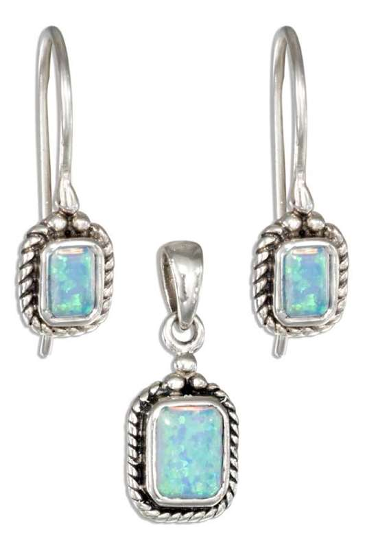 Imitation Blue Opal Rectangle Beaded Edge Earrings Pendant Set
